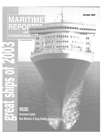 Maritime Reporter Magazine Cover Dec 2003 - Grear Ships of 20003
