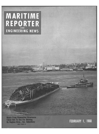 Cover of February 1968 issue of Maritime Reporter and Engineering News Magazine