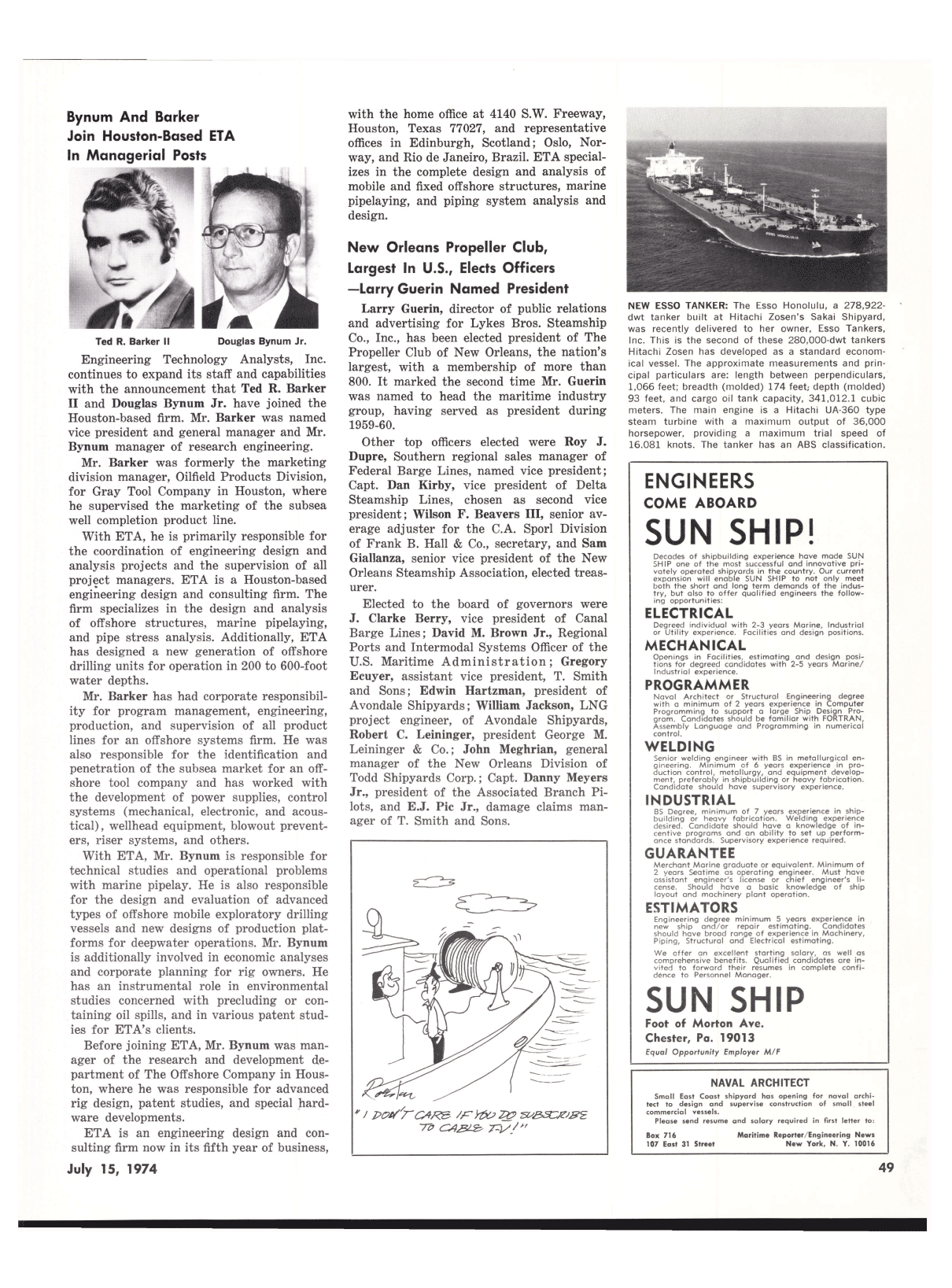Viewmaritime Reporter And Engineering News July 15 1974 Piping Layout Engineer Salary 51