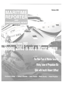 Maritime Reporter Magazine Cover Feb 2003 -