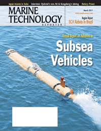 Marine Technology Magazine Cover Mar 2011 - Subsea Vehicles: AUV, ROV, UUV Annual
