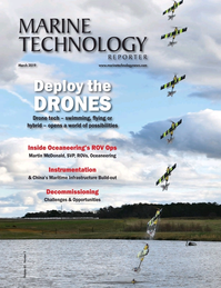 Marine Technology Magazine Cover Mar 2019 - Oceanographic Instrumentation: Measurement, Process & Analysis