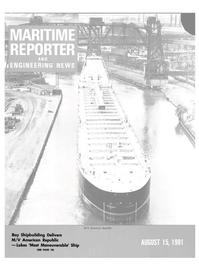 Maritime Reporter Magazine Cover Aug 15, 1981 -