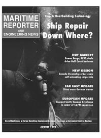 Maritime Reporter Magazine Cover Aug 1996 -