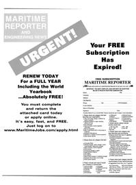 Maritime Reporter Magazine Cover Jan 2002 -