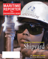 Maritime Reporter Magazine Cover Aug 2011 - Top 20 Shipyards of the World