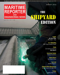 Maritime Reporter Magazine Cover Aug 2012 - The Shipyard Edition