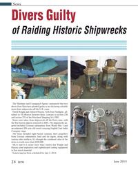 MT Jun-14#24  2, 2014. Divers Guilty  of Raiding Historic Shipwrecks 24