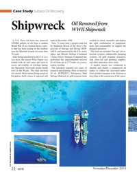 MT Nov-18#22 Case Study Subsea Oil Recovery Oil Removed from  Shipwreck W