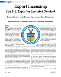 MT Apr-19#10 Insignts Government Update Export Licensing:  Tips U.S. Exporters