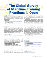 MP Q4-18#11 The Global Survey  of Maritime Training  Practices is