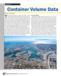 MP Q4-19#48 INSIGHTS Container Volume Data By John D. McCown The China