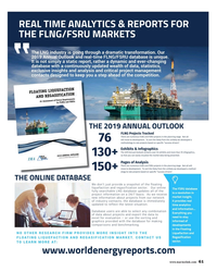 MR Nov-18#61 REAL TIME ANALYTICS & REPORTS FOR  THE FLNG/FSRU MARKETS