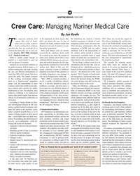 MR Nov-19#76 M MARITIME MEDICAL CREW CARE Crew Care: Managing Mariner