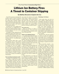 MR Jul-20#56 The Final Word: Containership Fires Lithium Ion Battery