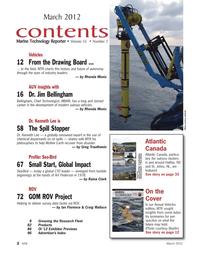 Marine Technology Magazine, page 2,  Mar 2012 New Foundland and Labrador