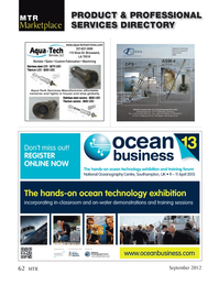 Marine Technology Magazine, page 62,  Sep 2012 ocean technology exhibition