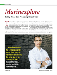 Marine Technology Magazine, page 30,  Nov 2012 Marinexplore Cutting Ocean