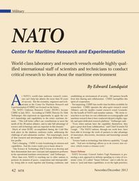 Marine Technology Magazine, page 42,  Nov 2012 NATO Center for Maritime Research and Experimentation World-class