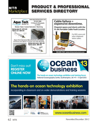 Marine Technology Magazine, page 62,  Nov 2012 ocean technology exhibition