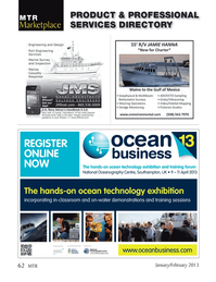 Marine Technology Magazine, page 62,  Jan 2013 ocean technology exhibitionincorporating in-classroom
