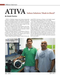 Marine Technology Magazine, page 26,  Apr 2013 Genesis Institute of the Catho