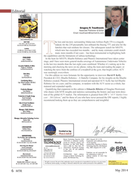 Marine Technology Magazine, page 6,  May 2014 Eric Haunhaun