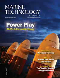 Marine Technology Magazine Cover Nov 2017 - Acoustic Doppler Sonar Technologies ADCP & DVLs