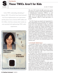 Maritime Logistics Professional Magazine, page 24,  Q1 2012
