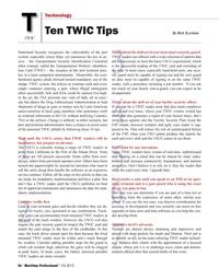 Maritime Logistics Professional Magazine, page 56,  Q1 2012