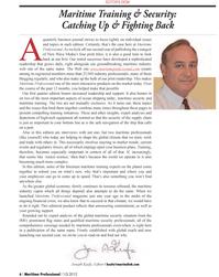 Maritime Logistics Professional Magazine, page 6,  Q1 2012
