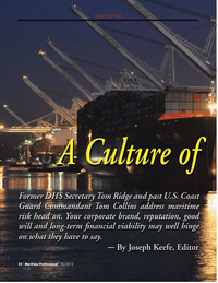 Maritime Logistics Professional Magazine, page 32,  Q2 2012 Commandant Tom Collins