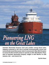 Maritime Logistics Professional Magazine, page 40,  Q3 2013 Interlake Steamship Company