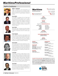 Maritime Logistics Professional Magazine, page 6,  Q3 2013 Tom Ridge