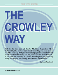 Maritime Logistics Professional Magazine, page 32,  Q1 2014 Crowley Maritime Corporation HQ