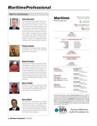Maritime Logistics Professional Magazine, page 6,  Q1 2014 Frank Covella