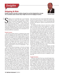 Maritime Logistics Professional Magazine, page 10,  Q2 2014 Tyler Rosenlicht