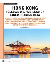 Maritime Logistics Professional Magazine, page 10,  Sep/Oct 2017