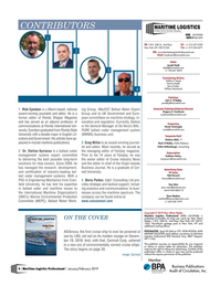 Maritime Logistics Professional Magazine, page 4,  Jan/Feb 2019