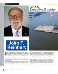 Maritime Logistics Professional Magazine, page 10,  May/Jun 2019