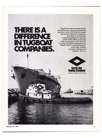 Maritime Reporter Magazine, page 7,  Feb 15, 1974 Curtis Bay Towing