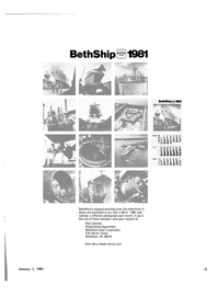 Maritime Reporter Magazine, page 21,  Jan 1981 Wall Calendar Shipbuilding Department Bethlehem Steel Corporation