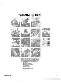Maritime Reporter Magazine, page 23,  Jan 1981 Wall Calendar Shipbuilding Department Bethlehem Steel Corporation
