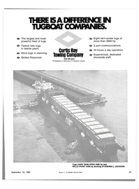 Maritime Reporter Magazine, page 19,  Sep 15, 1981 CURTIS BAY TOWING COMPANY