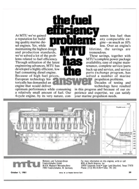 Maritime Reporter Magazine, page 31,  Oct 1981 MTU of North America Inc.