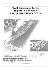 Maritime Reporter Magazine, page 4th Cover,  May 1984 Todd Inaugurates Largest Shiplift