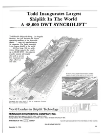 Maritime Reporter Magazine, page 19,  Dec 15, 1984 Todd Inaugurates Largest Shiplift