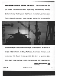 Maritime Reporter Magazine, page 33,  Jan 1994 Newport News shipbuilding