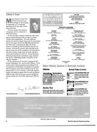 Maritime Reporter Magazine, page 6,  May 2001