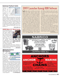 Maritime Reporter Magazine, page 63,  Oct 2013 Synergi RBI Software